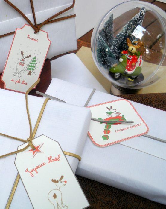 étiquettes cadeaux rennes
