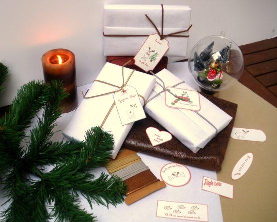 Étiquettes cadeaux rennes de Noël