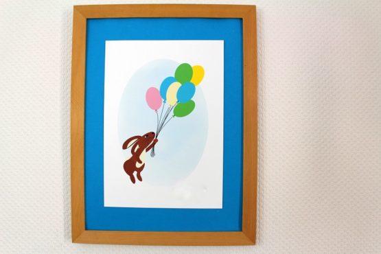 Affiche lapin ballons personnalisable