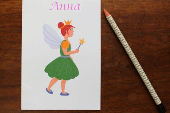Carte personnalisable fée rousse