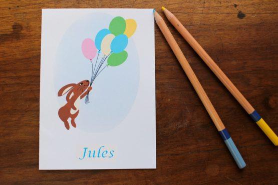 Carte personnalisable lapin ballons