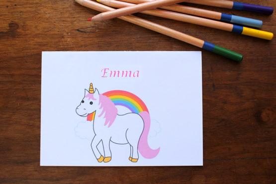 Carte personnalisable licorne