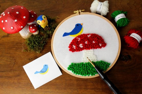 Kit punch needle oiseau champignon