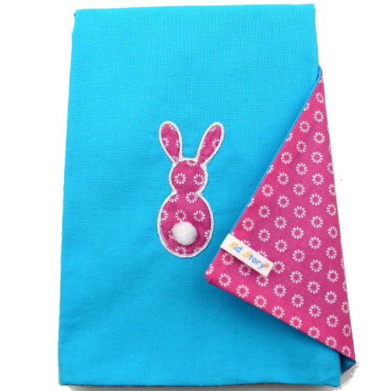 Serviette de table lapin bleue