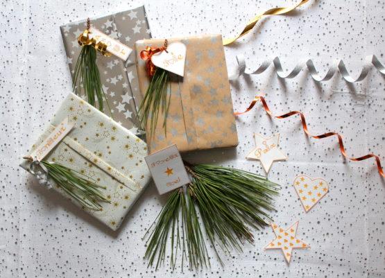 Étiquettes cadeaux Noël étoiles