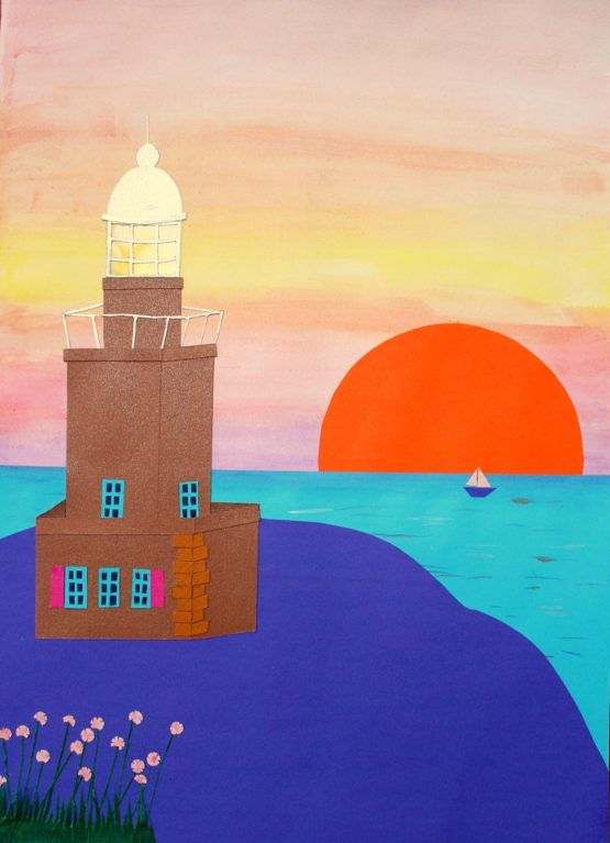 Collage phare au soleil couchant